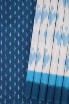 Brown-White-Blue Double Ikat Saree with Spade Pattern - GI Tagged