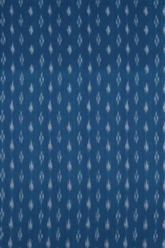 Brown-White-Blue Double Ikat Saree with Spade Pattern (2) - GI Tagged