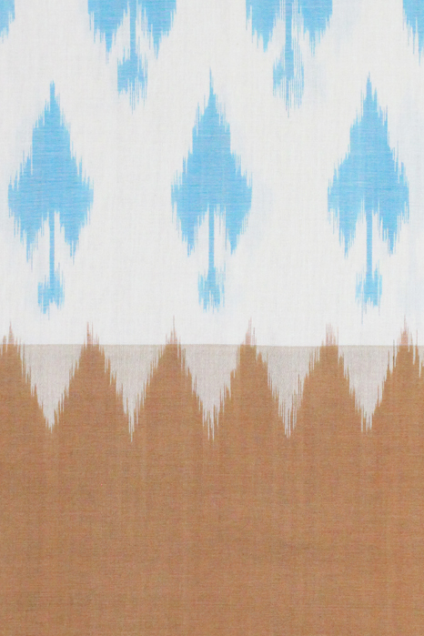 Brown-White-Blue Double Ikat Saree with Spade Pattern (3) - GI Tagged