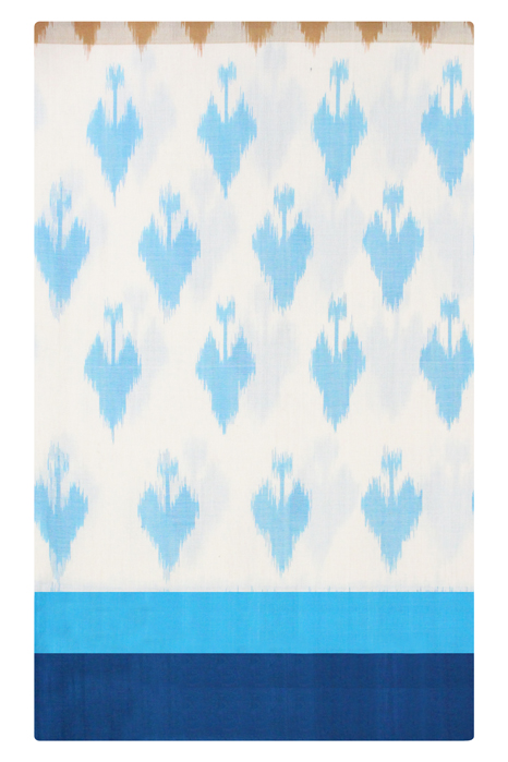 Brown-White-Blue Double Ikat Saree with Spade Pattern (4) - GI Tagged