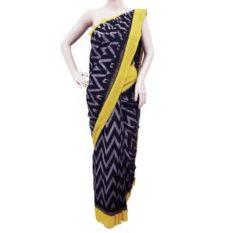 Black-Yellow Double Ikat Seamless Pattern Pure Cotton Saree - Pochampally Ikat Saree