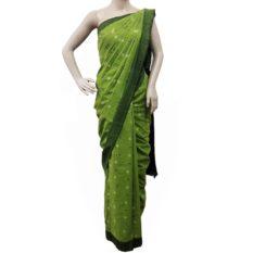 Green Single Ikat Pochampally Cotton Saree Online - GI Tagged