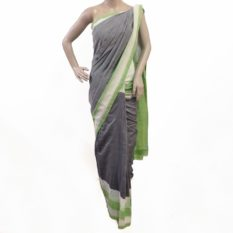 Grey-Green Double Ikat Pochampally Cotton Saree Online