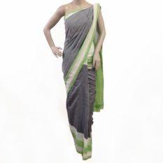 Grey-Green Double Ikat Pochampally Cotton Saree Online