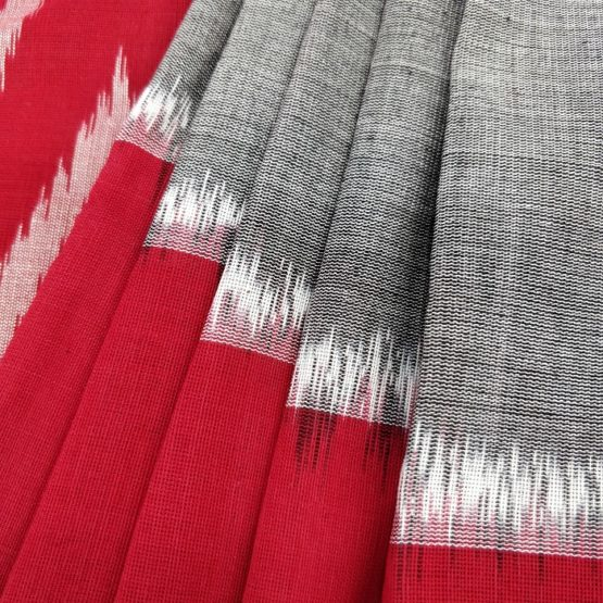 Grey-Red-White Colour Saree at Best Price Online - GI Tagged