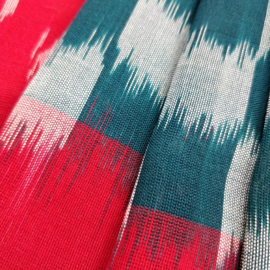 Handwoven Teal-Red Colored Cotton Saree Online