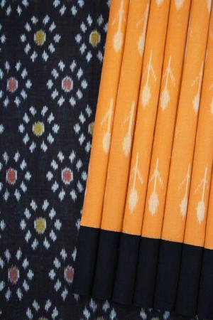Orange-Black Double Ikat Floral Pattern Pochampally Saree (1)