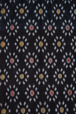 Orange-Black Double Ikat Floral Pattern Pochampally Saree (2)