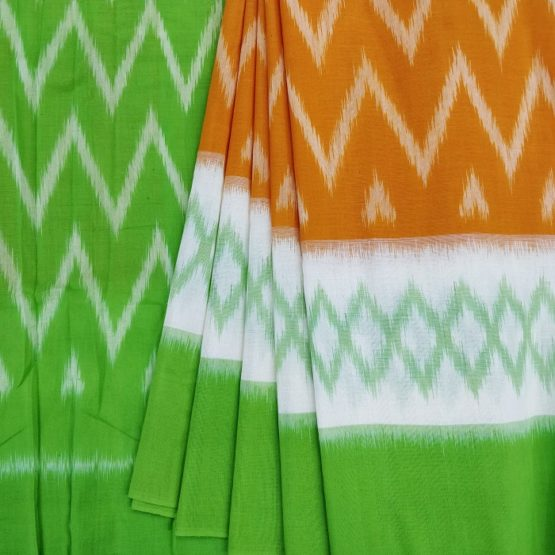Orange Cotton Saree with Seamless Pattern Green Pallu