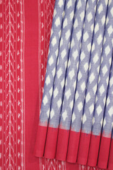 POCHAMPALLY IKAT SAREES - Purple-Red Dot Pattern Pochampally Ikat Saree (1)