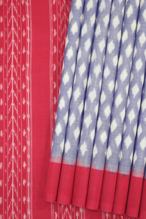 POCHAMPALLY IKAT SAREES - Purple-Red Dot Pattern Pochampally Ikat Saree (1)