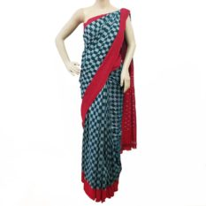 Teal-Red Double Ikat Pochampally Saree Online