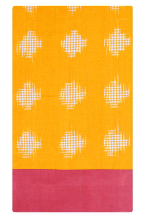 Yellow-Pink Double Ikat Cotton Saree (5)