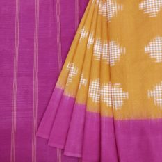 Yellow Pure Cotton Pochampally Saree with Pink Pallu Online