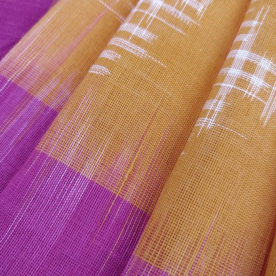 Yellow Saree with Pink Border - Pure Cotton South Indian Saree Online
