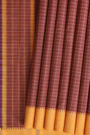 Brown Narayanpet Cotton Saree (1)