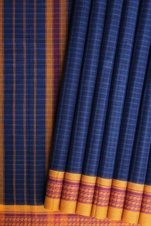 Narayanpet Blue Cotton saree (1)