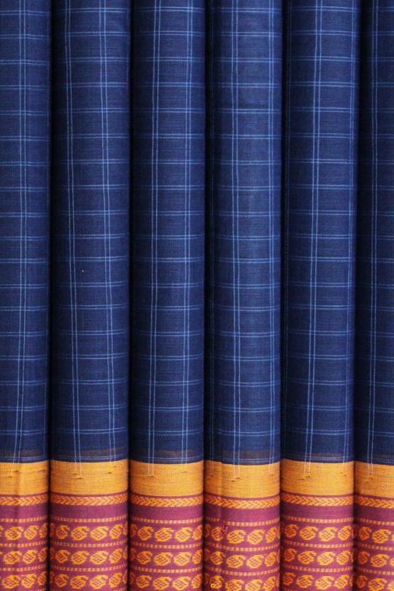 Narayanpet Blue Cotton saree (4)