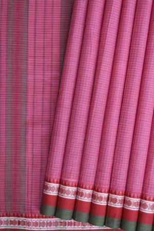 Narayanpet Pink Pure Cotton saree (1)