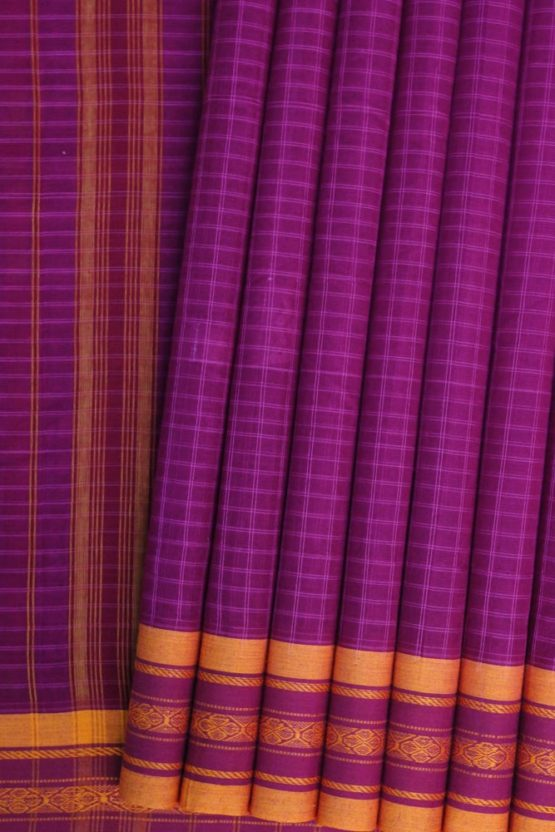 Pink-Yellow Narayanpet Cotton saree (1)