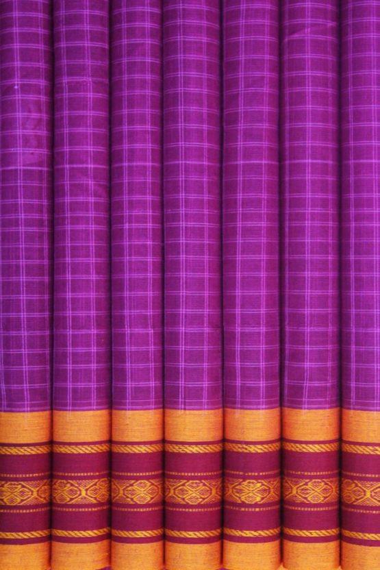 Pink-Yellow Narayanpet Cotton saree (4)