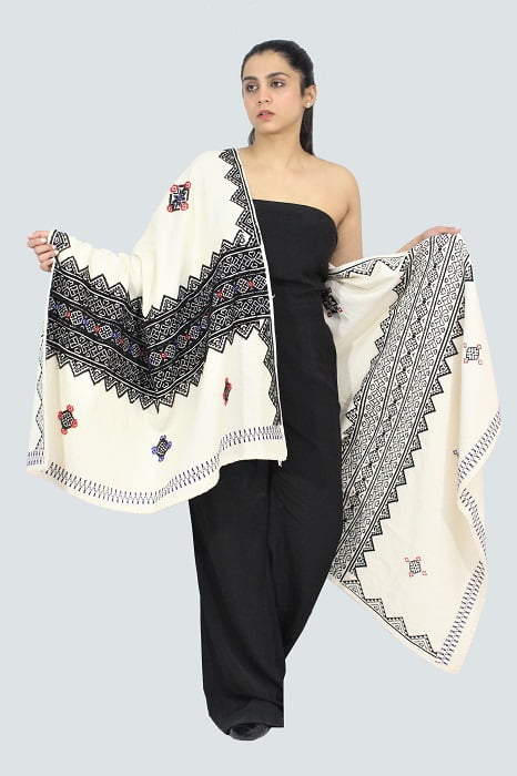 Toda-Embroidery-Wool-Cotton-Shawl-Black A6