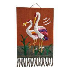 Crane Pure Jute Handmade Wall Hanging Orange 1