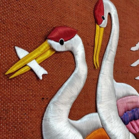 Crane Pure Jute Handmade Wall Hanging Orange 3