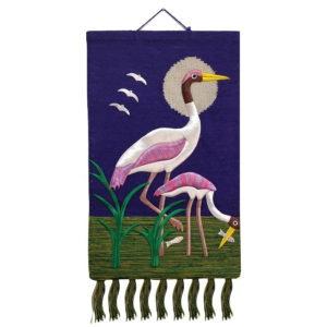 Crane-Pure Jute Handmade Wall Hanging Purple 1