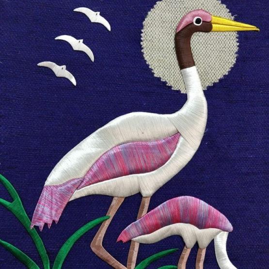 Crane-Pure Jute Handmade Wall Hanging Purple 2