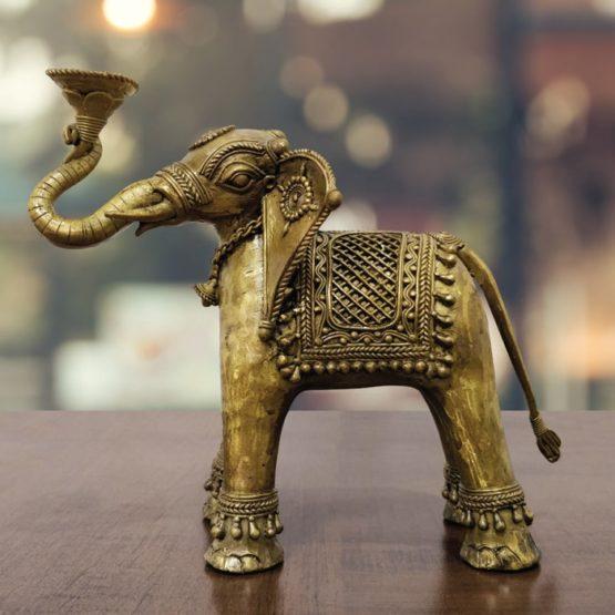 Dhokra Art Elephant Holder 2