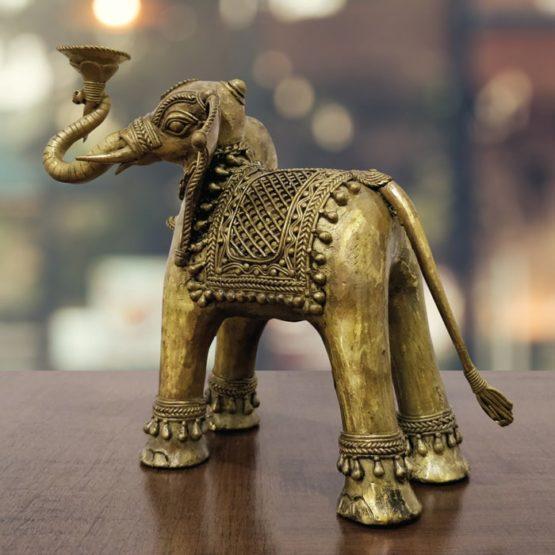 Dhokra Art Elephant Holder 3