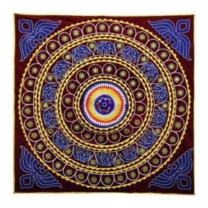Pipli Applique Work Elephant Mandala Art Maroon 1