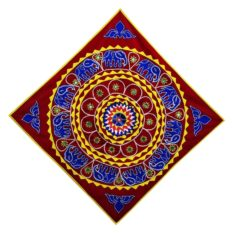 Pipli Applique Work Elephant Mandala Art - Red 1