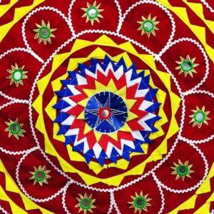 Pipli Applique Work Elephant Mandala Art - Red 3