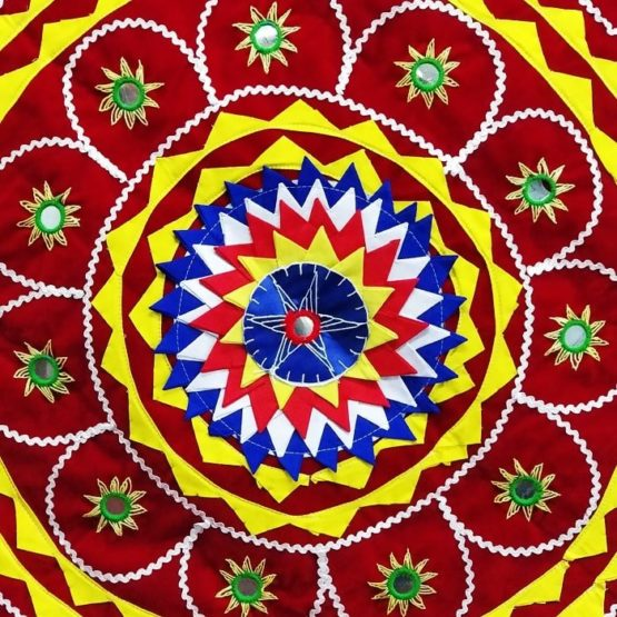 Pipli Applique Work Elephant Mandala Art - Red 3