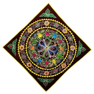 Pipli Applique Work Mandala Art - Maroon 1