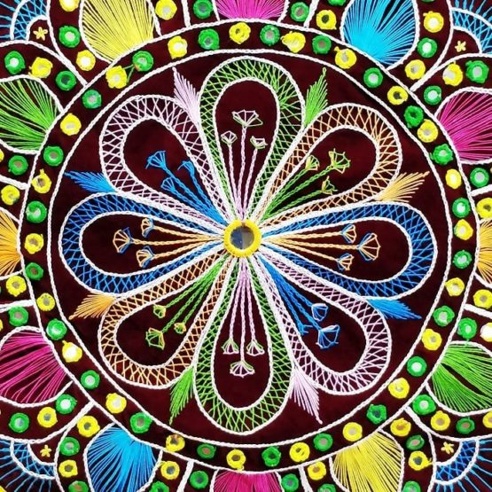 Pipli Applique Work Mandala Art - Maroon 2