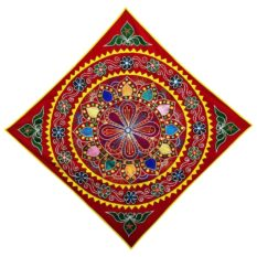 Pipli Applique Work Mandala Art Red Wall Hanging 1