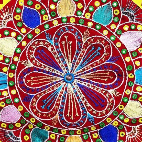 Pipli Applique Work Mandala Art Red Wall Hanging 2