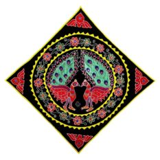 Pipli Applique Work Peacock Design Black Wall Hanging 1