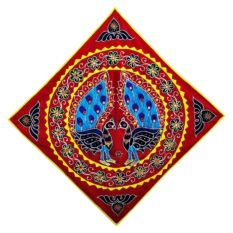Pipli Applique Work Peacock Design Red Wall Hanging 1