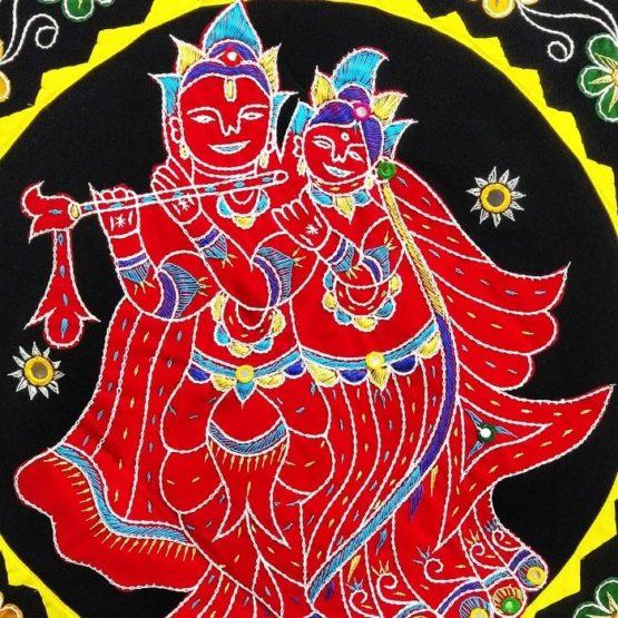Pipli Applique Work Radha Krishna Black Wall Hanging 2