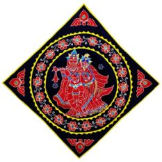 Pipli Applique Work Radha Krishna Blue Wall Hanging 1