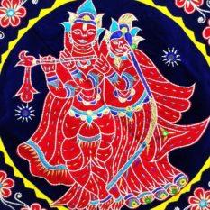 Pipli Applique Work Radha Krishna Blue Wall Hanging 2