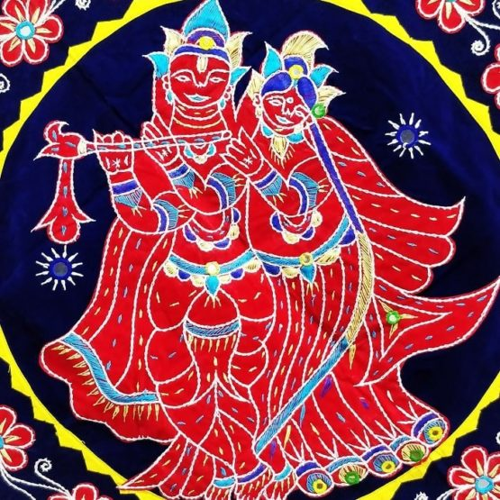 Pipli Applique Work Radha Krishna Blue Wall Hanging 2