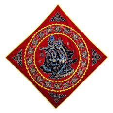 Pipli Applique Work Radha Krishna Red Wall Hanging 1