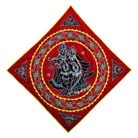 Pipli Applique Work Radha Krishna Red Wall Hanging 1