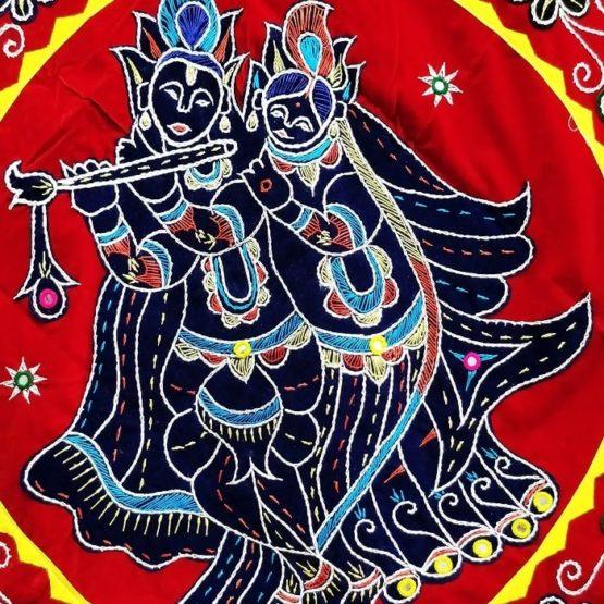 Pipli Applique Work Radha Krishna Red Wall Hanging 2
