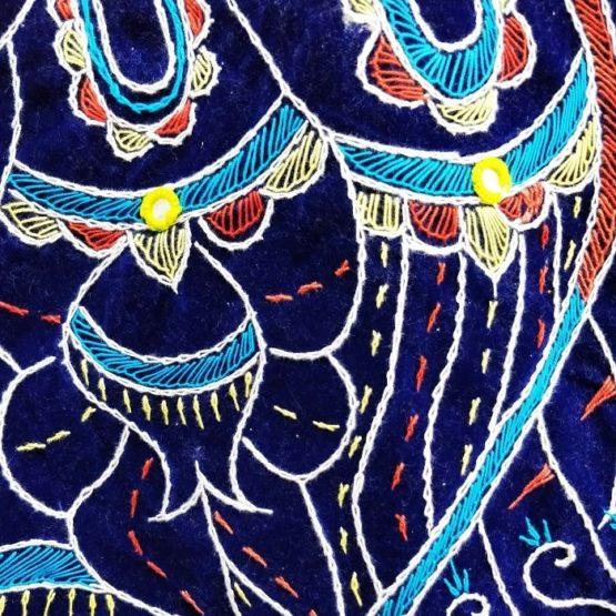 Pipli Applique Work Radha Krishna Red Wall Hanging 3